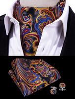 lenço ascot venda por atacado-Oi-Tie dos homens Clássico Paisley Ascot Cravat Floral Vintage Ascot Lenço Cuffflinks Cravat Set Para Festa de Casamento Dos Homens AS-0005