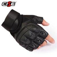 askeri taktik eldiven yarım parmak toptan satış-Pu Deri Motosiklet Parmaksız Eldiven Askeri Taktik Bisiklet Motosiklet Motocross Sert Knuckle Yarım Parmak Koruyucu Dişli MX190817