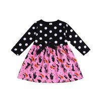 baumwollschläger großhandel-Mädchen Halloween Gedruckt Kleid Baumwolle Cartoon Kürbis Ghost Bat Dot Gedruckt FliegeKleid Kinder Designer Kleidung Mädchen Outfits 1-6 T 04