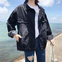 frauen schwarze jeansjacke großhandel-Umlegekragen Schwarz Lose Jeansjacken Frauen Casual Korean Style Jean Mäntel Plus Size Weibliche Mode Jacken Streetwear Neu