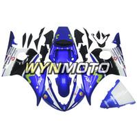 plásticos para r6 venda por atacado-Carroçaria De Moldagem Por Injeção Para Yamaha YZF-600 R6 Ano 2003 2004 Plástico Completo Cowling Kit Painéis R6 03 04 ABS Plástico Movistar Branco Blu Casco