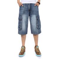 marke hose großen jungen großhandel-2018 NEUE Marke Mens Big size Lose baggy Kurze Jeans für Männer Jungen Hip Hop Skateboard Hose für Rapper Rap Hose blau Hiphop
