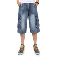 бренд брюнет большой мальчик оптовых-2018 NEW Brand Mens Big size Loose baggy Short jeans for men boy's Hip Hop Skateboard pants for Rappers Rap trousers blue hiphop