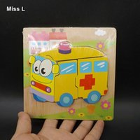 Wholesale montessori toddler toys for sale - Children Ambulance Wooden Puzzle Jiasaw Board Toys For Babys Kids Toddlers