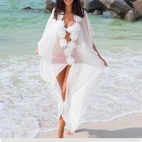 şifon mayo örtüleri toptan satış-Balayı Elbise Plaj Cover up Elbise Dantel Plaj Tunik Pareos Mayo Kadınlar 2018 Bikini cover up Şifon Mayo