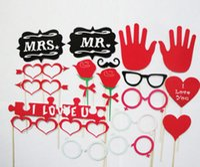 adereços grátis para casamento venda por atacado-Ano novo Venda! Frete grátis, 32pcs / set Funny Photo Booth Props Hat bigode em uma festa de aniversário de casamento da vara decoração favor