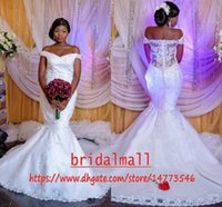 Wholesale white lace nigerian dress for sale - Group buy Plus size Mermaid Nigerian Lace Wedding Dresses Sexy Off shoulders African Bridal Dress Buttons Back Wedding Gowns Custom Vestidos de Novia