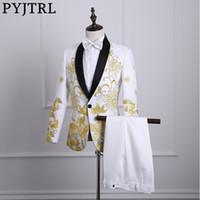 chal vestido de fiesta blanco al por mayor-Pyjtrl Male Shawl Lapel White Black Red bordado trajes de baile trajes de escenario cantante traje Homme para hombre con pantalones