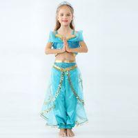 makyaj malzemeleri toptan satış-Çocuklar Aladdin Lamba Yasemin Prenses kıyafetler çocuk Cosplay Kostüm karikatür Çocuk Makyaj parti Giyim Kız giysi tasarımcısı GGA2164