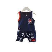 Wholesale formal girl clothes resale online - Baby Boy Girl Clothing Summer Children Clothes Infant Cartoon Pattern Vest Shorts set Toddler Garment Kid Casual