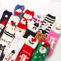 Wholesale thick towel socks resale online - Socks Girls Coral Velvet Floor Socks Cartoon Sleep Socks Women Christmas Warm Hosiery Towel Thick Sock Autumn Calcetines Stocking Gift E6727