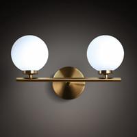 luzes de parede de níquel escovado venda por atacado-Nordic Art Glass Quarto LED Wall Lamp Loft Designer Restaurante Café Bar cabeceira parede de vidro luminárias gratuito Shipping110V `260V