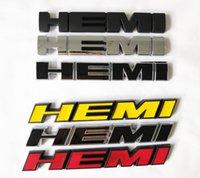 dodge emblemas carregador venda por atacado-1pcs HEMI emblemas Side Oblique Hetero Chrysler do rodeio Etiqueta 3D substituição Para Ram Challenger Charger Black Red Chrome Yellow