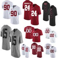 camiseta de fútbol en blanco al por mayor-Personalizado En blanco Alabama Crimson Tide Fútbol Jersey Hombres Mujeres Jóvenes Niño talla S a 4XL Evan Neal Trey Sanders Tagovailoa Jeudy