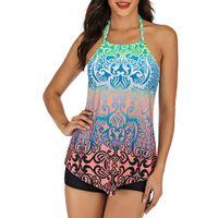 süße badeanzug-set großhandel-SAGACE 2019 Blue Print Bikini Frauen Split Sexy Nette Zwei Stücke Badeanzug Strand Bademode Damen Tankini Set Badeanzug Biquini
