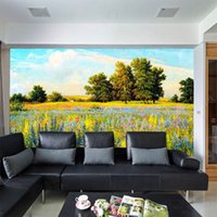 Wholesale romantic paintings for bedroom for sale - Group buy Romantic floral field mural wallpaper oil painting home decor living room bedroom wedding room wall decor eco friendly material D mural