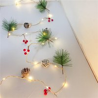 führte kupferdraht schnur lichter groihandel-1PC Weihnachtsdekoration führte Copper Wire Light Pine Cone Nadel Kleine Sangguo Flagge Lichterkette Weihnachten Decor