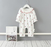 Wholesale cherry baby clothing resale online - INS Baby Girls clothes Romper cotton Ruffles Collar Little Cherry Print Romper Spring Fall Boutique rompers T