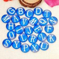 lettres à dos plat achat en gros de-100 pièces Bleu lettres DIY Perles De Verre Rondes Cabochon Dômes Dos Plat En Verre perles Bijoux Trouver Pendentif Paramètres G1077