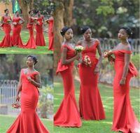 siyah kırmızı nedime önlük toptan satış-2019 Ucuz Kırmızı Gelinlik Modelleri Uzun Saten Kat Uzunluk Arapça Onur Hizmetçi Düğün Konuk Elbisesi Custom Made Siyah Kızlar Pageant Törenlerinde