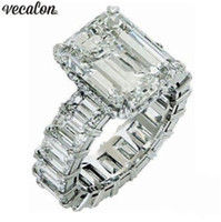 Wholesale princess cut sterling silver ring for sale - Group buy Vecalon Vintage Princess cut ring sterling silver ct Diamond Engagement wedding Band rings for women Finger Jewelry