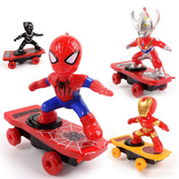 Wholesale scooter toys for sale - Group buy Children Stunt Scooter Toy SpiderMan Black Panther Iron Man Captain America Electronic Toy Cartoon Action Figure With Music Light