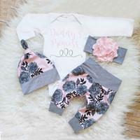 şapka kız giysileri toptan satış-Çocuklar tasarımcı Yenidoğan Bebek Bebek Giysileri Set kızın Bodysuit + Pantolon Tayt + Şapka Bebek Kız Giysileri Suits
