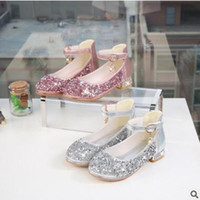 Wholesale cow girls dress for sale - Group buy Elegant and Lovely Princess Shoes Girls Mary Jane Wedding Party Shoes Glitter Bridesmaids Low Heels Princess Dress Shoes
