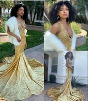 robes en velours sirène achat en gros de-2019 robes de soirée sexy de bal de sirène de perles de velours perlées longues formelles robe de soirée à manches longues