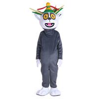 trajes de caráter de alta qualidade venda por atacado-Dia das bruxas Madagascar Rei Traje Da Mascote Dos Desenhos Animados de Alta Qualidade Julian Lemur Lemuroid Anime personagem de natal Carnaval Fantasia Trajes