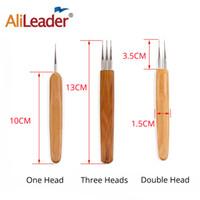 conjunto de agujas de punto al por mayor-AliLeader 3 unid trenzado Dreadlock herramientas para el cabello agujas de tejer ganchillo tejer ganchos bambú agujas trenza conjunto de herramientas de bricolaje