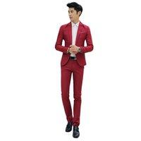 ingrosso pantaloni corti coreani per gli uomini-Nuovo Design Coat and Pant Suit Uomo Smoking da uomo in tinta unita per uomo Slim Fit Mens Abiti moda coreana