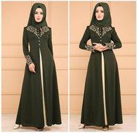 abaya wulst kaftan großhandel-Muslimische Grüne Abendkleider Lange Ärmel Dubai Kaftan Abendkleider mit Perlenschärpe Islamische Abaya Marokkanische Abendkleider