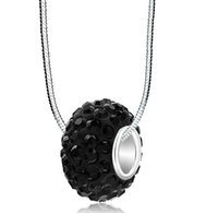 Wholesale black white resin beads resale online - white black rt35le Mix color necklace Resin Rhinestone Silver Big Hole mm european beads crystal crystal