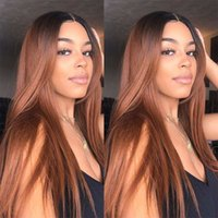 Wholesale peruvian silky straight wig resale online - Ombre Two Tone Silky Straight Lace Front Human Hair Wigs Peruvian Virgin Hair Density Bleached Knots Ombre Wig Full Lace Wigs Glueless