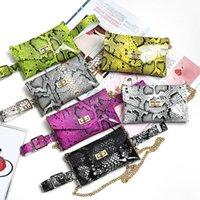 en ince cep telefonları toptan satış-Son seksi bayanlar Tasarımcı Bel Çantası Yılan İnce Kemer Moda Zincir Çanta PVC Floresan Mini Cep Telefonu Çanta Çanta