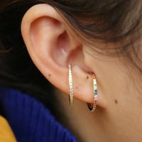 Wholesale gold plated pierced earrings resale online - 2019 new designer Women colorful CZ circle Ear Cuff Wrap Clip Earrings Gold color Wedding Piercing Dual purpose jewelry earings