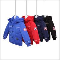 kızlar ceket aşağı çocuklar ceket toptan satış-Kanada Aşağı ceketler Çocuk Kış Sıcak Kapşonlu Aşağı Palto Erkekler Kızlar eskitmek Çocuklar Aşağı Parkas Ceket Çocuk Coat WINDBREAKER ceket kalınlaştırın