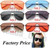 benzersiz güneş gözlüğü lensleri toptan satış-5 ADET Seksi Benzersiz Boy Güneş Erkekler Vintage 2019 Tek Parça Lens sarı Kırmızı Büyük Güneş Gözlükleri Büyük Çerçeve Kadın Rüzgar Geçirmez UV400 Promosyon