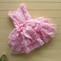 Wholesale pink rosette flower girl dresses for sale - Group buy HighQuality Rose Garden Pink Rosette Silk Dress Easter Flower Baby Girl Wedding New headband