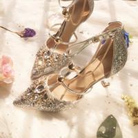 talons hauts en perles d'argent achat en gros de-2019 Mode Argent De Luxe Perlée Paillettes Designer Femmes Chaussures De Mariage Talons Hauts 8.5cm 6cm Bout Pointu Pompes Robe De Mariée Chaussures Grande Taille