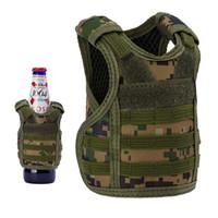 Mini Tactical molle Vest Beer Bottle Vest with Adjustable Straps Beverage Holder for 12oz or 16oz Cans and Bottles.