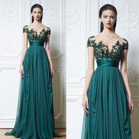Wholesale zuhair murad sheer lace dresses resale online - Zuhair Murad Sexy A Line Prom Dress Formal Evening Dresses Applique Lace Floor Length vestidos de fiesta Party Wear Sheer Neck