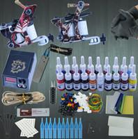 dövmeler tabanca mürekkep setleri toptan satış-Profesyonel Dövme Seti 2 Makineli Tüfek 20 Renkli Mürekkepler Güç Kaynağı Komple Dövme Setleri Kalıcı Makyaj Profesyonel Dövme Seti Set