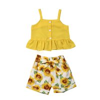 Wholesale stylish baby clothes resale online - Toddler Kids Girls Clothes Baby Girl Clothes Sleeveless Summer Stylish Suspenders Vest Top Sunflower Printed Shorts Outfits