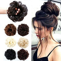 Wholesale rings curly hair resale online - BUQI Curly Scrunchie Chignon Rubber Band Blonde Synthetic Hair Ring Wrap For Hair Bun Ponytails Heat Resistant Accessories