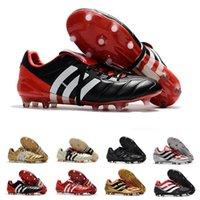 erkek boyutu 39 siyah ayakkabı toptan satış-Predator Futbol Boots Hızlandırıcı Elektrik Purecontrol Siyah Kırmızı Şampanya Fg Futbol Ayakkabı Cleats Tasarımcı Erkekler Sneaker Boyutu 39-46