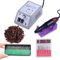 nagelwerkzeuge zubehör großhandel-Elektrische Nail art Bohrmaschine Set 20000 RPM Ausrüstung Maniküre Tool Kit Nagelfeile Bit Schleifband Kunst Zubehör 110 v-240 v