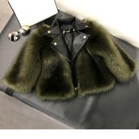 kız çocukları için deri ceketler toptan satış-Kız kürk Ceket Taklit tilki Yapay Kürk Çim Yüksek Kaliteli Peluş + deri Sahte 2 parça Kış Çocuklar bebek kızGiyim