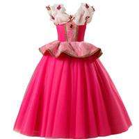vestido de princesa gratis al por mayor-Envío gratis Chica Aurora Dress Up Kids Princesa Cosplay Vestido de Halloween Fiesta de Navidad Vestido de fiesta Vestido de gala